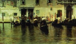 Traghetto Della Maddalena, 1887 by Giacomo Favretto