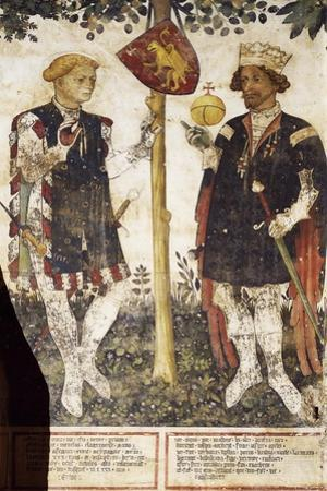 Valerano and Thomas Ii, Heroes, Detail from the Frescoes in the Baronial Hall