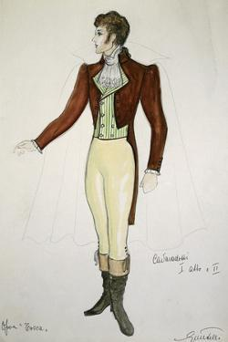 Costume Sketch by G Metelli for Role of Cavaradossi in First and Second Act of Opera Tosca by Giacomo Puccini
