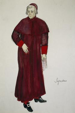 Costume Sketch by G Metelli for Role of Sexton in Opera Tosca by Giacomo Puccini