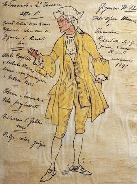 Costume Sketch for Role of Edmondo in Premiere of Opera Manon Lescaut by Giacomo Puccini