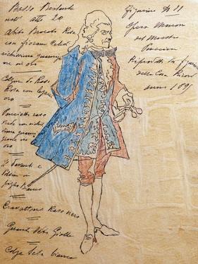 Costume Sketch for Role of Geronte Di Ravoir in Premiere of Opera Manon Lescaut by Giacomo Puccini