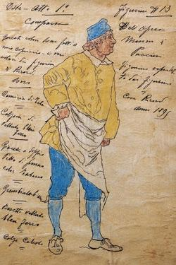 Costume Sketch for Role of Innkeeper in Premiere of Opera Manon Lescaut by Giacomo Puccini