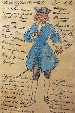 Costume Sketch for Role of Student Member of Chorus in Premiere of Opera Manon Lescaut by Giacomo Puccini