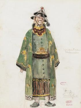 France, Paris, Costume Sketch for Pong in Oper Turandot by Giacomo Puccini