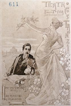 Postcard Created on Occasion of Premiere of Opera Tosca by Giacomo Puccini