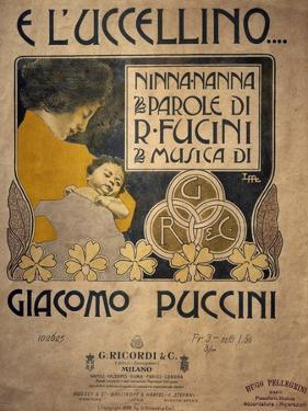 Title Page of Sheet Music of E L'Uccellino, Lullaby by Giacomo Puccini