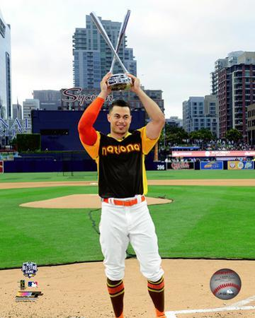 Giancarlo Stanton with the 2016 MLB All-Star Game Home Run Derby Champion Trophy