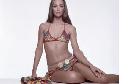 Model Wearing a Colorful Crocheted Allen and Cole Bikini with Tassels