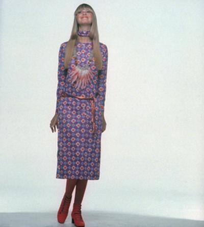 Model Wearing Red and White Print on Violet Jersey Dress by Gregory