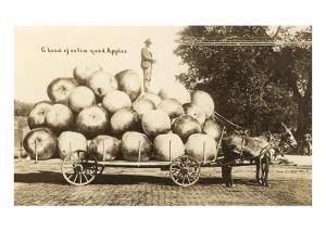 Giant Apples in Mule Cart
