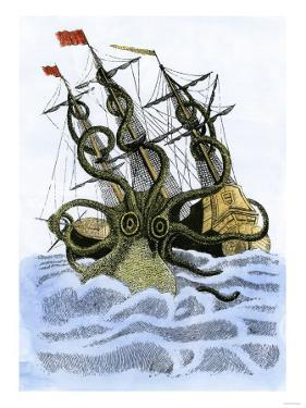 Giant Octopus Attacking a Sailing-Ship
