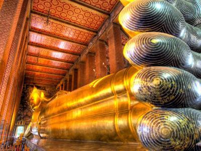 Giant Reclining Buddha Inside Temple, Wat Pho, Bangkok, Thailand