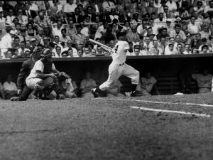 Giants Player, Willie Mays, Batting During Game with Dodgers
