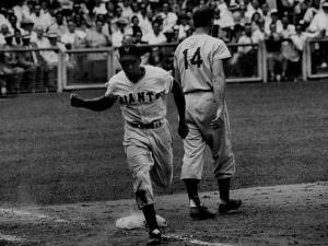 Giants Player, Willie Mays, Running Bases During Game with Dodgers