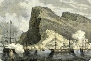 Gibraltar 1864 Arrival of the S.M. Maximilien Gibraltar