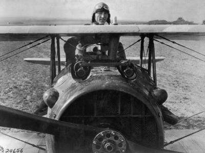 First Lt. Eddie Rickenbacker, 94th Aero Squadron, American Ace, Standing Up in Cockpit, WWI