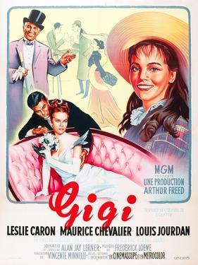 Gigi, Maurice Chevalier, Louis Jourdan, Leslie Caron on French poster art, 1958