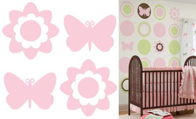 Gigi Pink Butterfly and Flowers Silhouettes Wall Decal Sticker