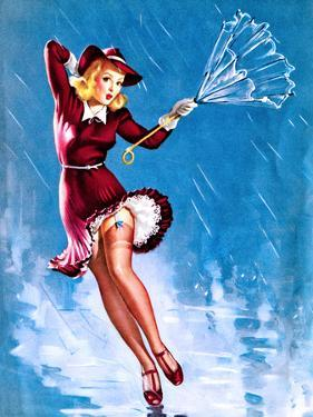 Caught in the Draft (What's Up) Pin-Up c1940s by Gil Elvgren