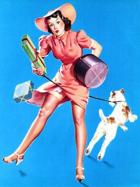 Help Wanted! Pin-Up with Dog 1939 by Gil Elvgren