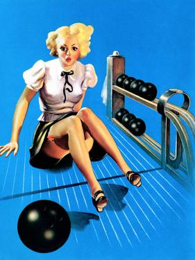 Is My Face Red! Bowling Pin-Up 1937 by Gil Elvgren