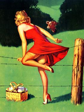 On De-Fence Pin-Up 1940S by Gil Elvgren