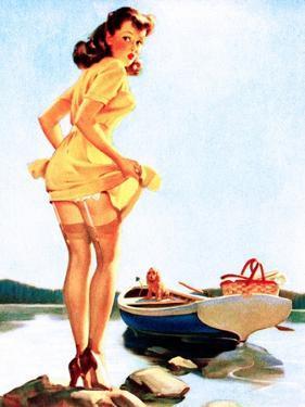 Slip Off Shore Pin-Up 1944 by Gil Elvgren