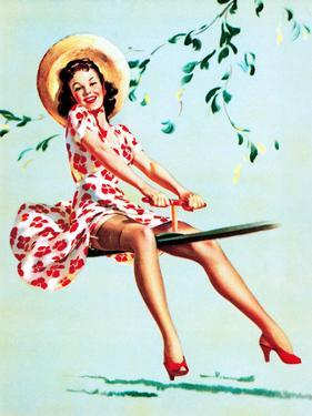 Teeter Taught Her (Well Balanced) Pin-Up 1944 by Gil Elvgren