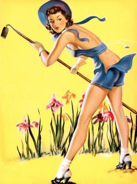 What Hoe! Gardening Pin-Up 1940 by Gil Elvgren