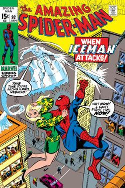 Amazing Spider-Man No.92 Cover: Spider-Man, Stacy, Gwen and Iceman by Gil Kane