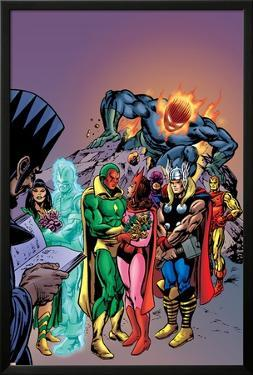 Avengers: Vision And The Scarlet Cover: Vision, Scarlet Witch, Thor, Iron Man and Dormammu by Gil Kane
