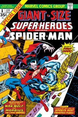 Giant-Size Super-Heroes No.1 Cover: Spider-Man, Morbius and Man-Wolf Fighting by Gil Kane