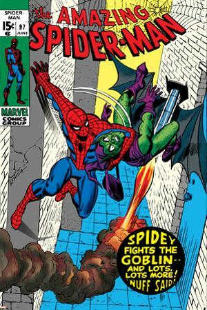 The Amazing Spider-Man No.97 Cover: Spider-Man and Green Goblin by Gil Kane