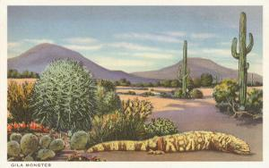 Gila Monster and Cacti