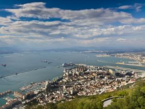 Bay of Gibraltar and Gibraltar Town from the Top of the Rock, Gibraltar, Europe by Giles Bracher