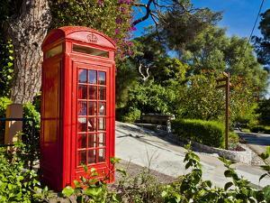 Red Telephone Box, Alameda Gardens, Gibraltar, Europe by Giles Bracher