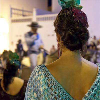 Spanish Girl Watching Horse-Back Feria Procession, Tarifa, Andalucia, Spain, Europe