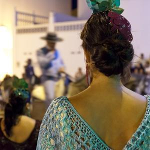 Spanish Girl Watching Horse-Back Feria Procession, Tarifa, Andalucia, Spain, Europe by Giles Bracher