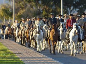 Spanish Horsemen in Feria Procession, Tarifa, Andalucia, Spain, Europe by Giles Bracher