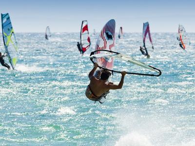 Windsurfer, Jump, Bolonia, Near Tarifa, Andalucia, Spain, Europe