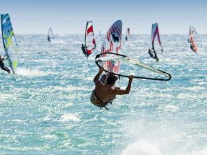 Windsurfer, Jump, Bolonia, Near Tarifa, Andalucia, Spain, Europe by Giles Bracher