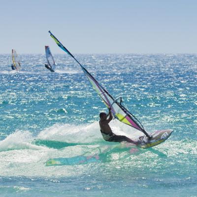 Windsurfer Riding Wave, Bonlonia, Near Tarifa, Costa de La Luz, Andalucia, Spain, Europe by Giles Bracher