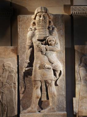 Gilgamesh, or the Lion Spirit, Stone relief, Assyrian, 8th century BC