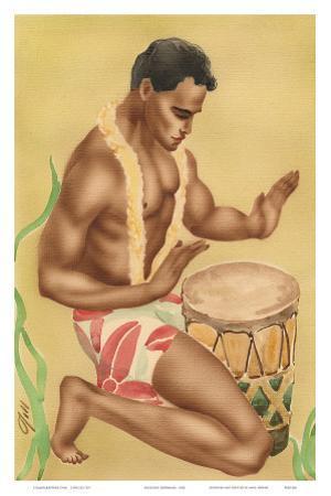 Hawaiian Kneeling Drummer, c.1930s by Gill