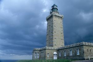 Coastal control path, cap Frehel, Brittany (Cote d'Emeraude). Stormy sky. 2009 by Gilles Targat