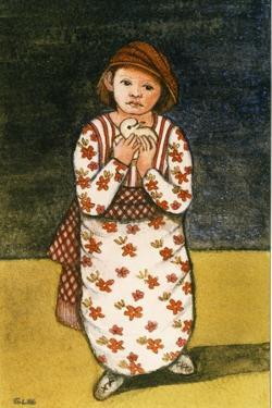 Girl with Dove, 1986 by Gillian Lawson