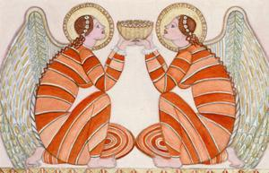 Two angels holding a bowl, 1995 by Gillian Lawson