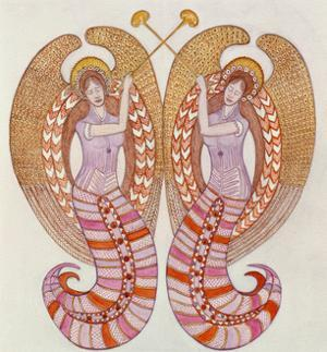 Two angels with trumpets, 1995 by Gillian Lawson