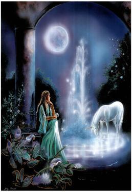Gina Femrite Moonlit Garden Unicorn Art Print POSTER